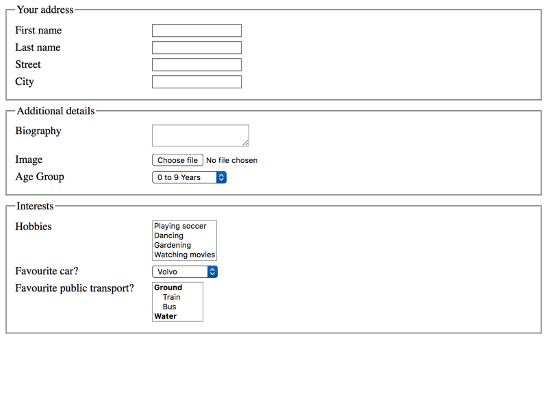 Grouping form controls with fieldset and legend