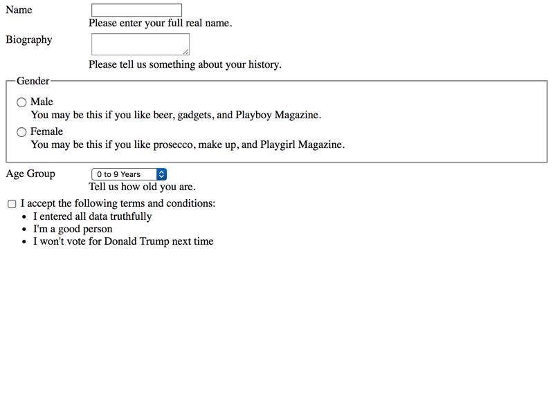 Placing non-interactive content between form controls