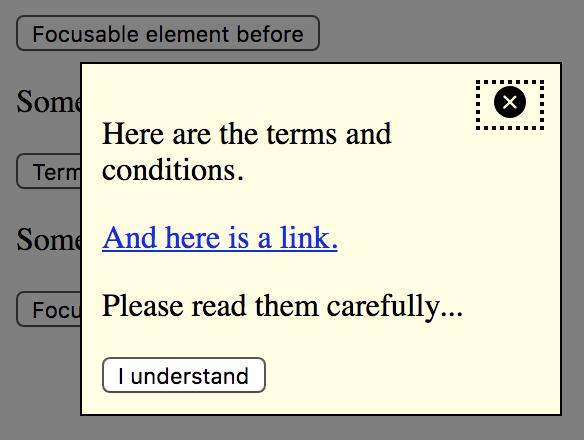 Dialog widget (or: modal, popup, lightbox, alert)