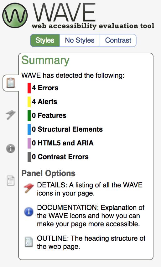 WAVE toolbar